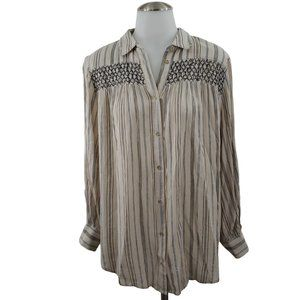 Floreat Top S Striped Smocked Button Front Tan blu